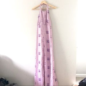 Vintage lavender gingham floral print maxi dress